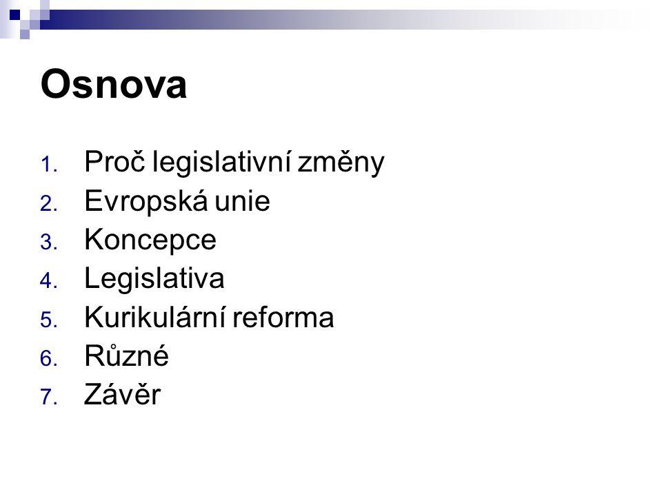 Osnova 1. Proč legislativní změny 2. Evropská unie 3. Koncepce 4. Legislativa 5. Kurikulární reforma 6. Různé 7. Závěr