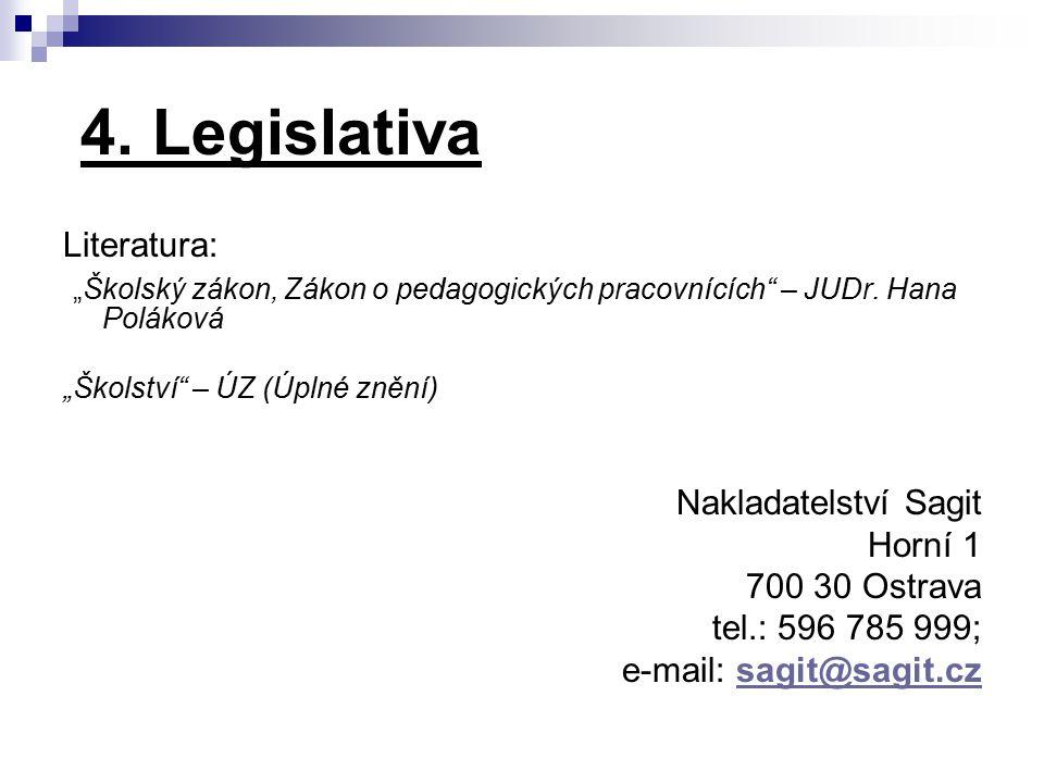 """4. Legislativa Literatura: """"Školský zákon, Zákon o pedagogických pracovnících"""" – JUDr. Hana Poláková """"Školství"""" – ÚZ (Úplné znění) Nakladatelství Sagi"""