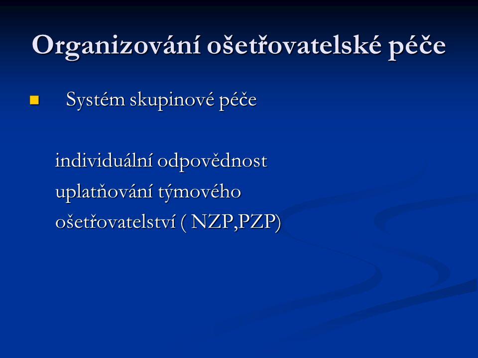 Organizování ošetřovatelské péče Systém skupinové péče Systém skupinové péče individuální odpovědnost individuální odpovědnost uplatňování týmového up