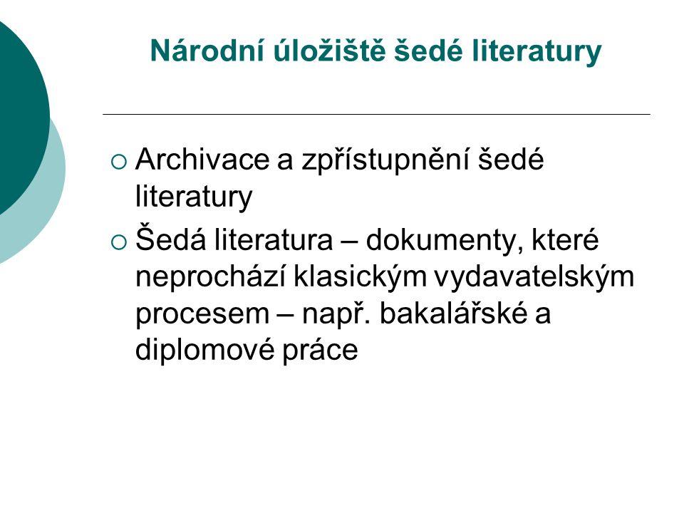 Národní úložiště šedé literatury  Archivace a zpřístupnění šedé literatury  Šedá literatura – dokumenty, které neprochází klasickým vydavatelským procesem – např.