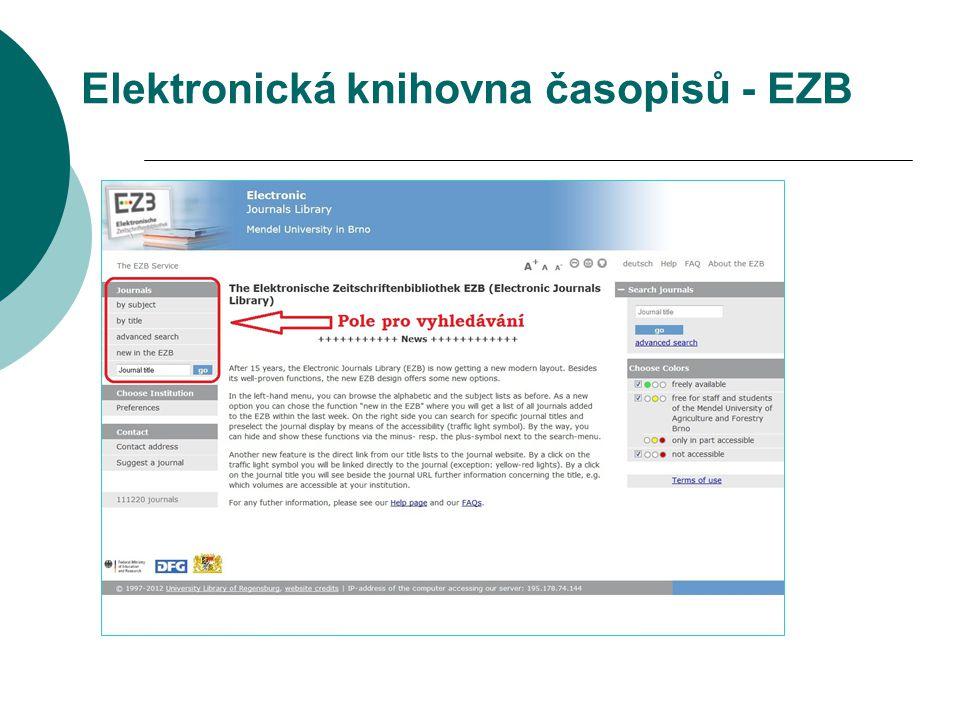 Elektronická knihovna časopisů - EZB pole pro vyhledávání