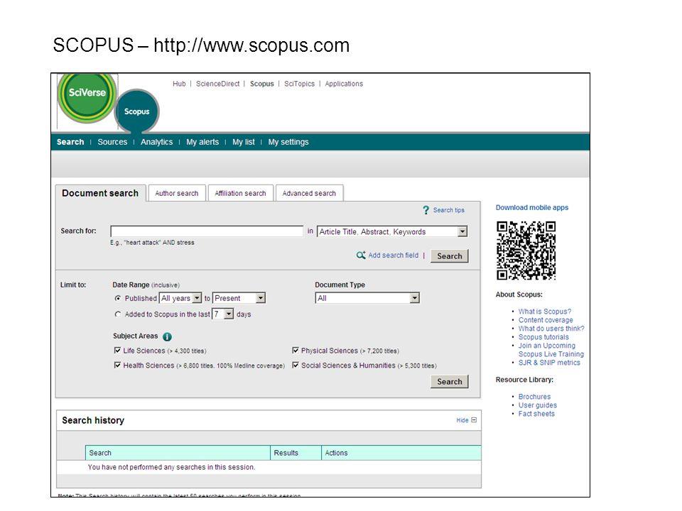 SCOPUS – http://www.scopus.com