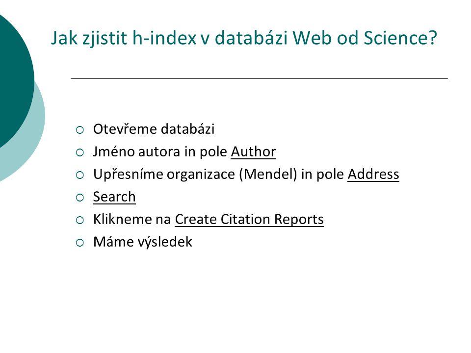 Jak zjistit h-index v databázi Web od Science.