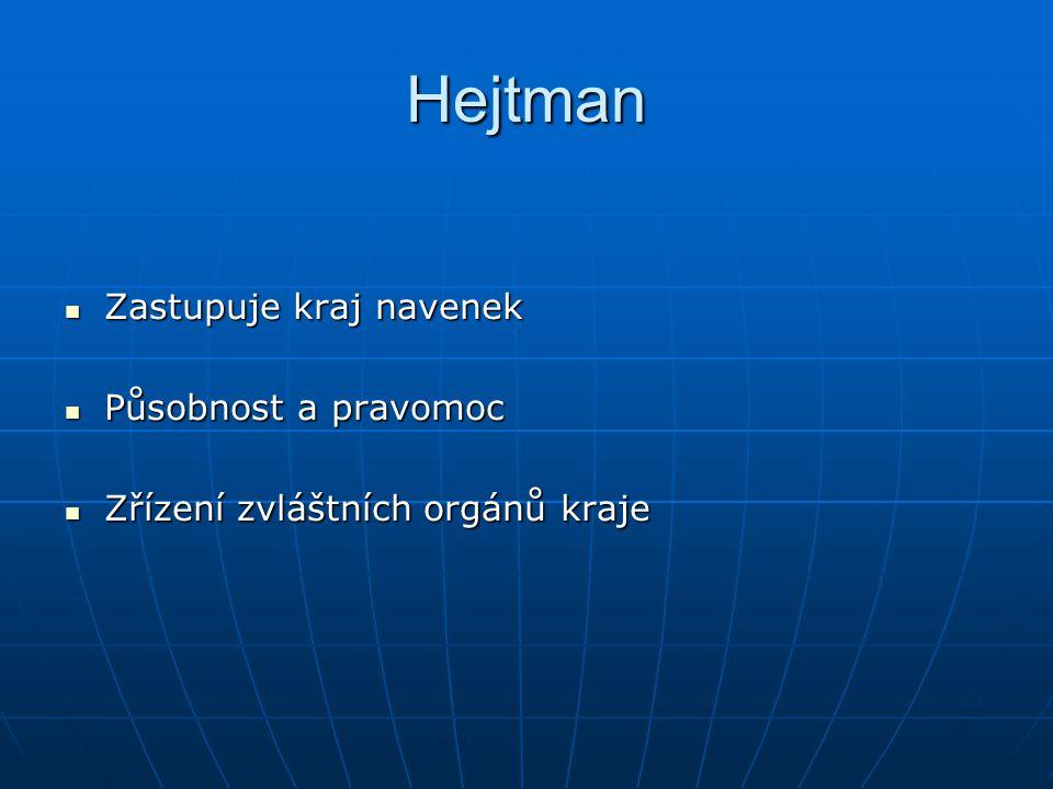 Hejtman Zastupuje kraj navenek Zastupuje kraj navenek Působnost a pravomoc Působnost a pravomoc Zřízení zvláštních orgánů kraje Zřízení zvláštních org