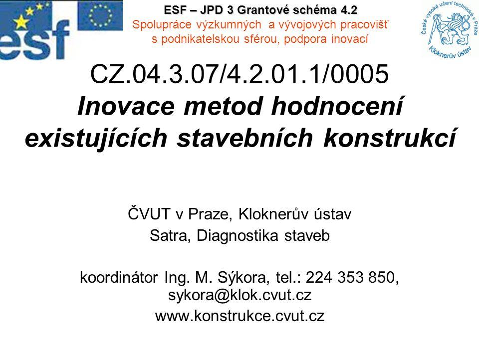 CZ.04.3.07/4.2.01.1/0005 Inovace metod hodnocení existujících stavebních konstrukcí ČVUT v Praze, Kloknerův ústav Satra, Diagnostika staveb koordinátor Ing.