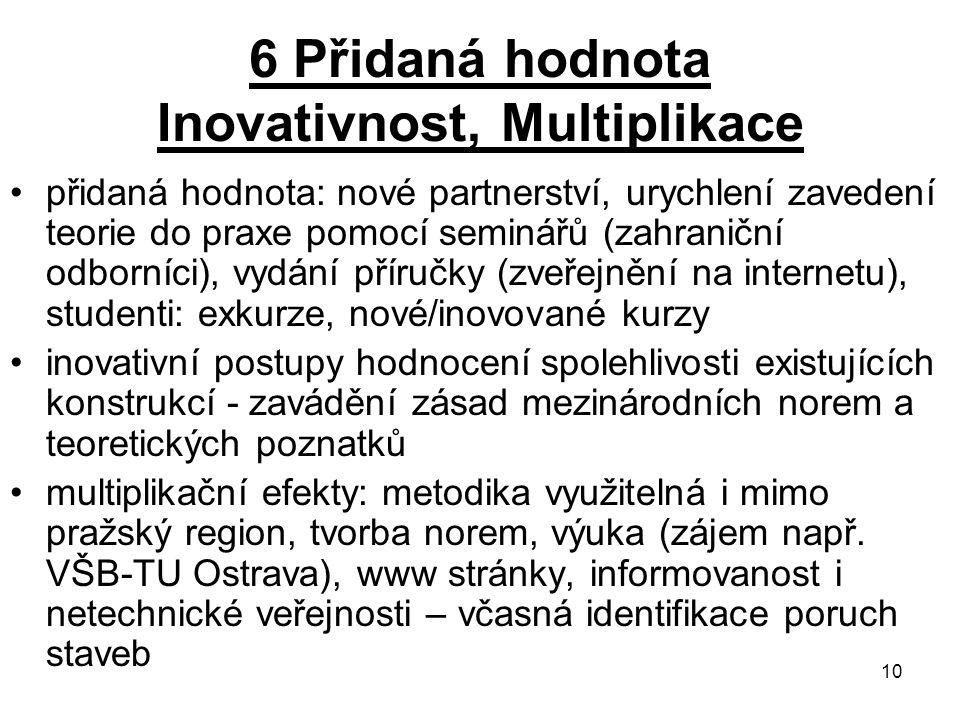 10 6 Přidaná hodnota Inovativnost, Multiplikace přidaná hodnota: nové partnerství, urychlení zavedení teorie do praxe pomocí seminářů (zahraniční odbo