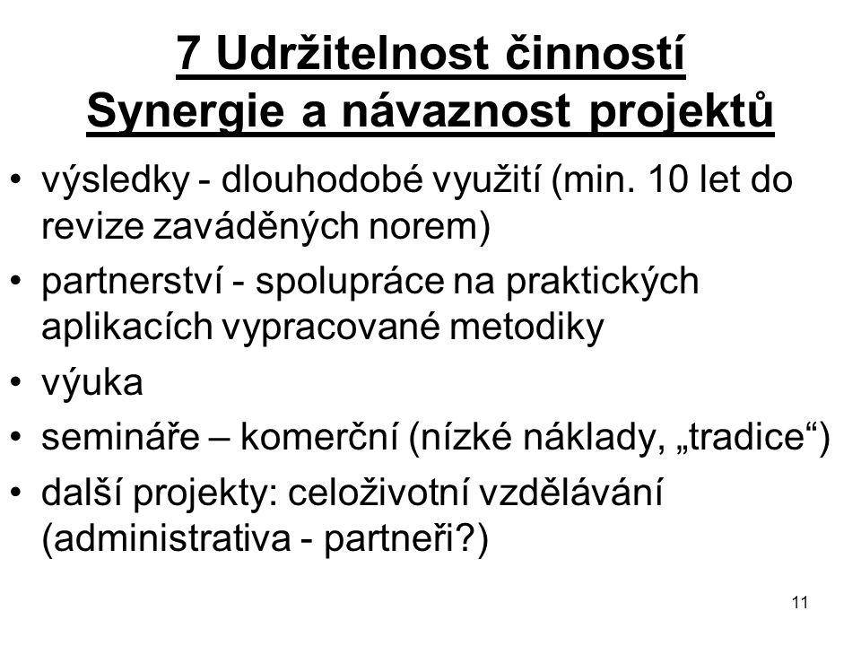 11 7 Udržitelnost činností Synergie a návaznost projektů výsledky - dlouhodobé využití (min.