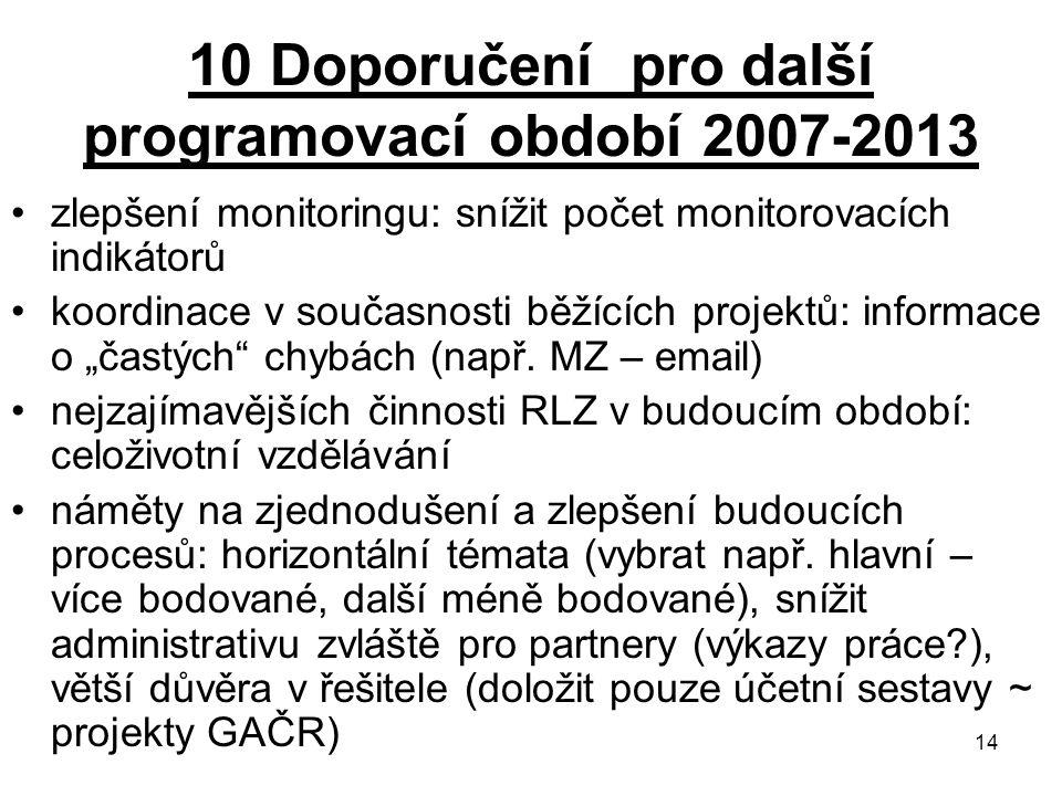 14 10 Doporučení pro další programovací období 2007-2013 zlepšení monitoringu: snížit počet monitorovacích indikátorů koordinace v současnosti běžícíc