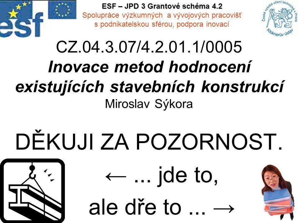 CZ.04.3.07/4.2.01.1/0005 Inovace metod hodnocení existujících stavebních konstrukcí Miroslav Sýkora DĚKUJI ZA POZORNOST. ESF – JPD 3 Grantové schéma 4