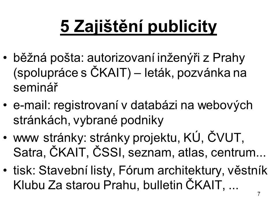 7 5 Zajištění publicity běžná pošta: autorizovaní inženýři z Prahy (spolupráce s ČKAIT) – leták, pozvánka na seminář e-mail: registrovaní v databázi n