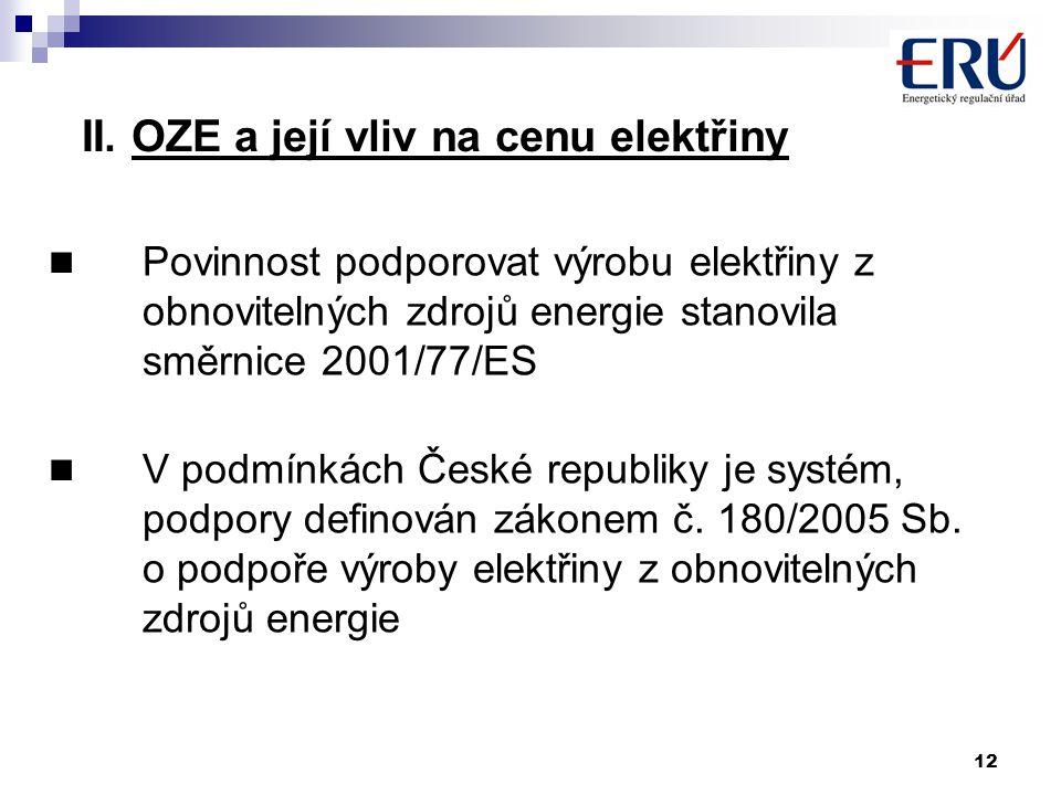 12 II. OZE a její vliv na cenu elektřiny Povinnost podporovat výrobu elektřiny z obnovitelných zdrojů energie stanovila směrnice 2001/77/ES V podmínká