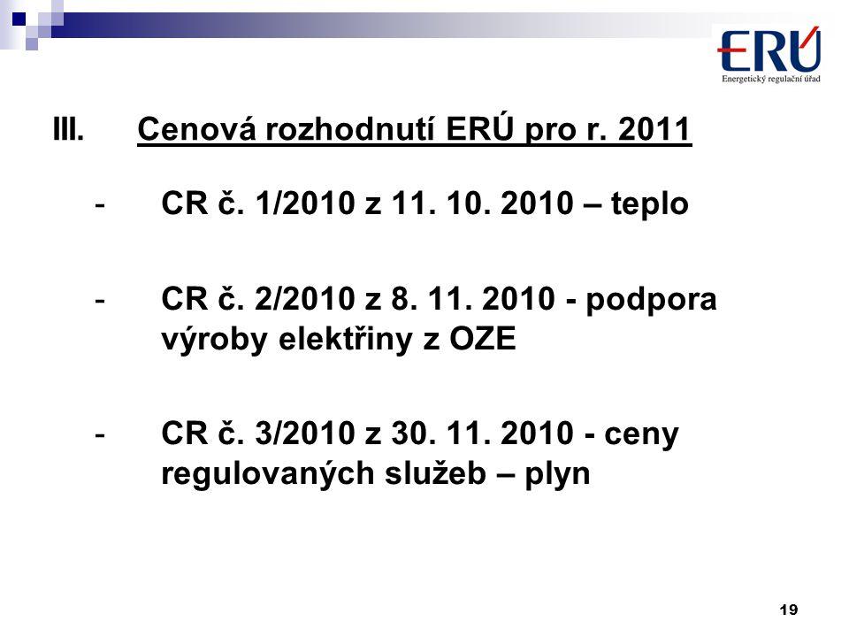 19 III.Cenová rozhodnutí ERÚ pro r. 2011 -CR č. 1/2010 z 11. 10. 2010 – teplo -CR č. 2/2010 z 8. 11. 2010 - podpora výroby elektřiny z OZE -CR č. 3/20
