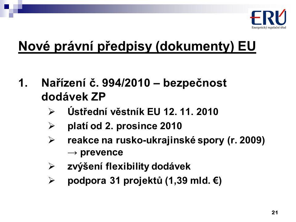 21 Nové právní předpisy (dokumenty) EU 1.Nařízení č. 994/2010 – bezpečnost dodávek ZP  Ústřední věstník EU 12. 11. 2010  platí od 2. prosince 2010 