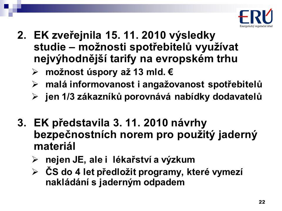 22 2.EK zveřejnila 15. 11. 2010 výsledky studie – možnosti spotřebitelů využívat nejvýhodnější tarify na evropském trhu  možnost úspory až 13 mld. €