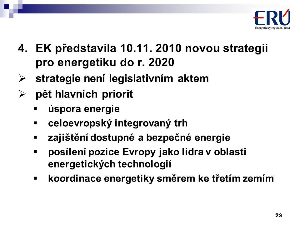 23 4.EK představila 10.11. 2010 novou strategii pro energetiku do r. 2020  strategie není legislativním aktem  pět hlavních priorit  úspora energie