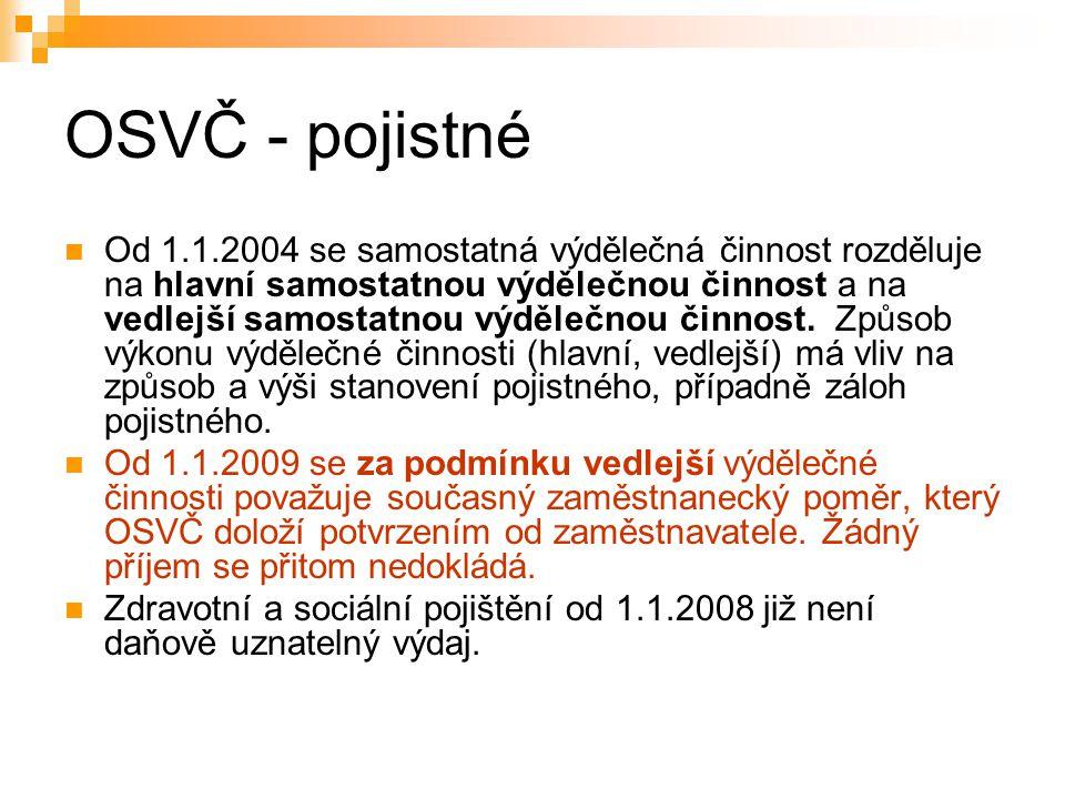 OSVČ - pojistné Od 1.1.2004 se samostatná výdělečná činnost rozděluje na hlavní samostatnou výdělečnou činnost a na vedlejší samostatnou výdělečnou či