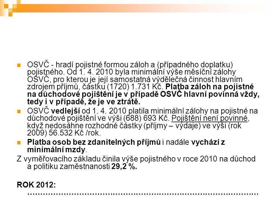 OSVČ - hradí pojistné formou záloh a (případného doplatku) pojistného. Od 1. 4. 2010 byla minimální výše měsíční zálohy OSVČ, pro kterou je její samos