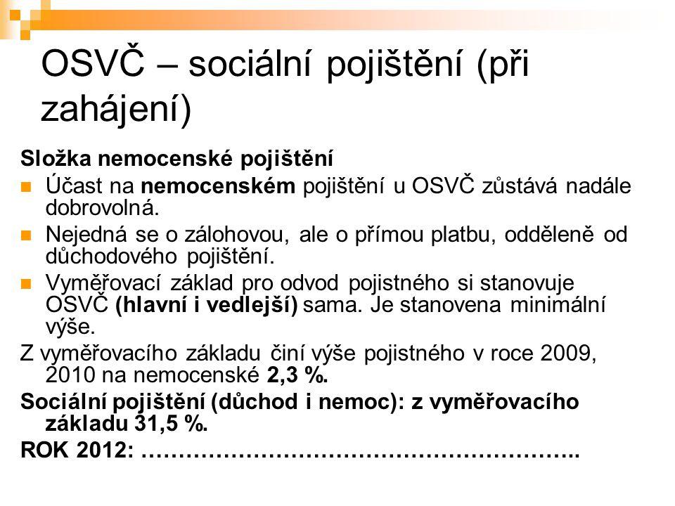 OSVČ – sociální pojištění (při zahájení) Složka nemocenské pojištění Účast na nemocenském pojištění u OSVČ zůstává nadále dobrovolná. Nejedná se o zál
