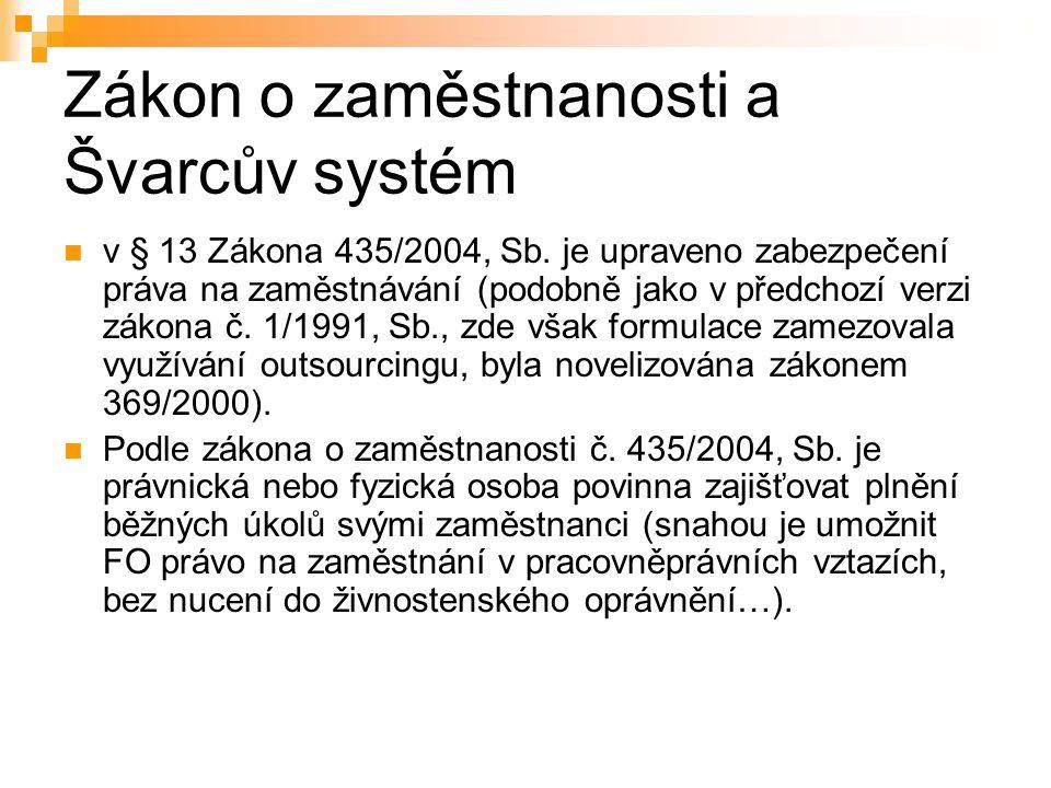 Zákon o zaměstnanosti a Švarcův systém v § 13 Zákona 435/2004, Sb. je upraveno zabezpečení práva na zaměstnávání (podobně jako v předchozí verzi zákon