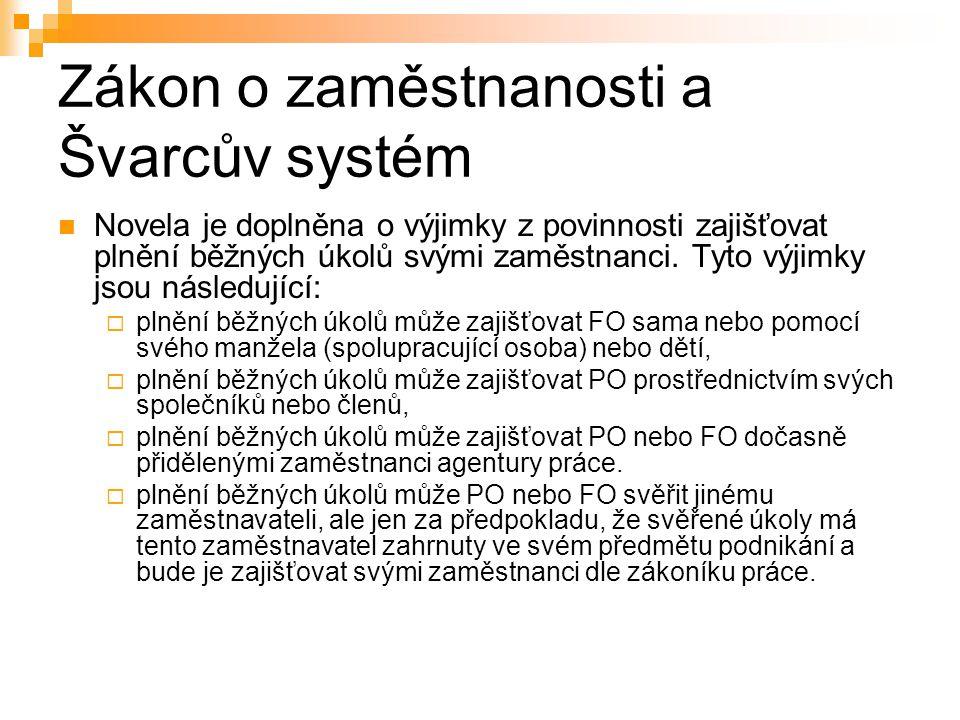 Zákon o zaměstnanosti a Švarcův systém Novela je doplněna o výjimky z povinnosti zajišťovat plnění běžných úkolů svými zaměstnanci. Tyto výjimky jsou