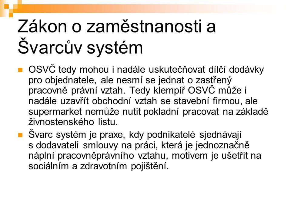 Zákon o zaměstnanosti a Švarcův systém OSVČ tedy mohou i nadále uskutečňovat dílčí dodávky pro objednatele, ale nesmí se jednat o zastřený pracovně pr