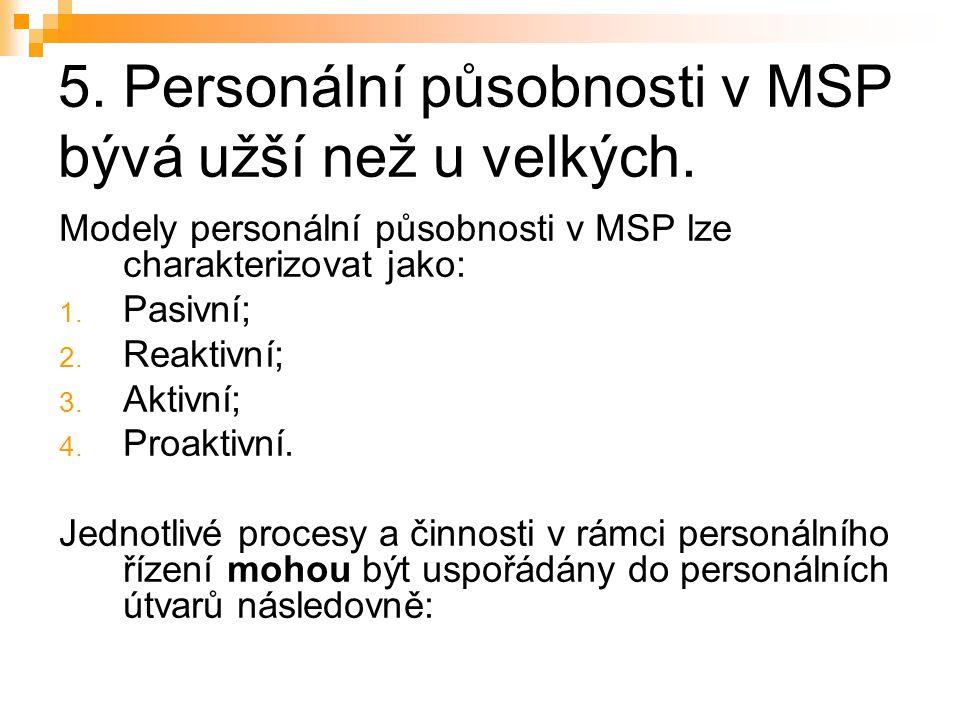 5. Personální působnosti v MSP bývá užší než u velkých. Modely personální působnosti v MSP lze charakterizovat jako: 1. Pasivní; 2. Reaktivní; 3. Akti