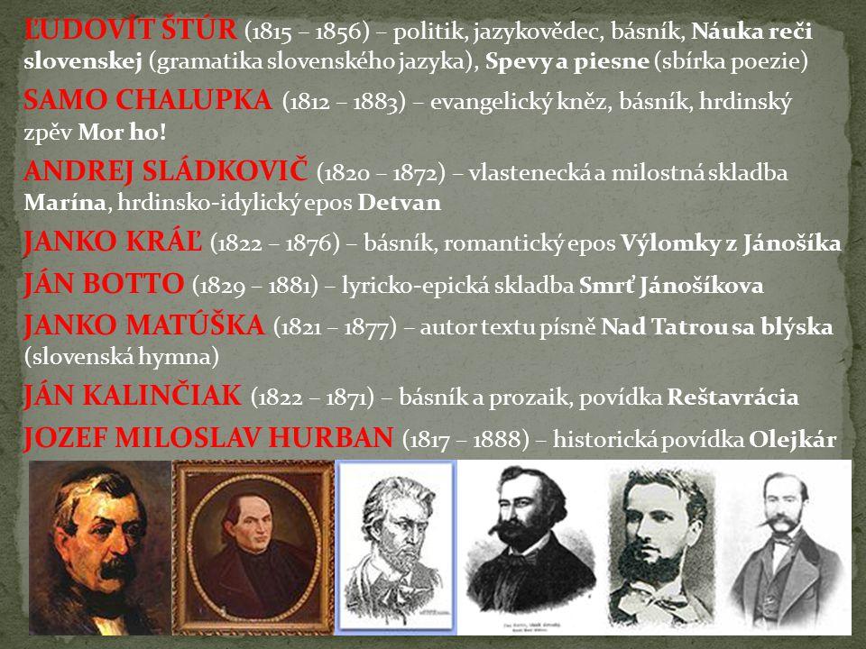 ĽUDOVÍT ŠTÚR (1815 – 1856) – politik, jazykovědec, básník, Náuka reči slovenskej (gramatika slovenského jazyka), Spevy a piesne (sbírka poezie) SAMO C