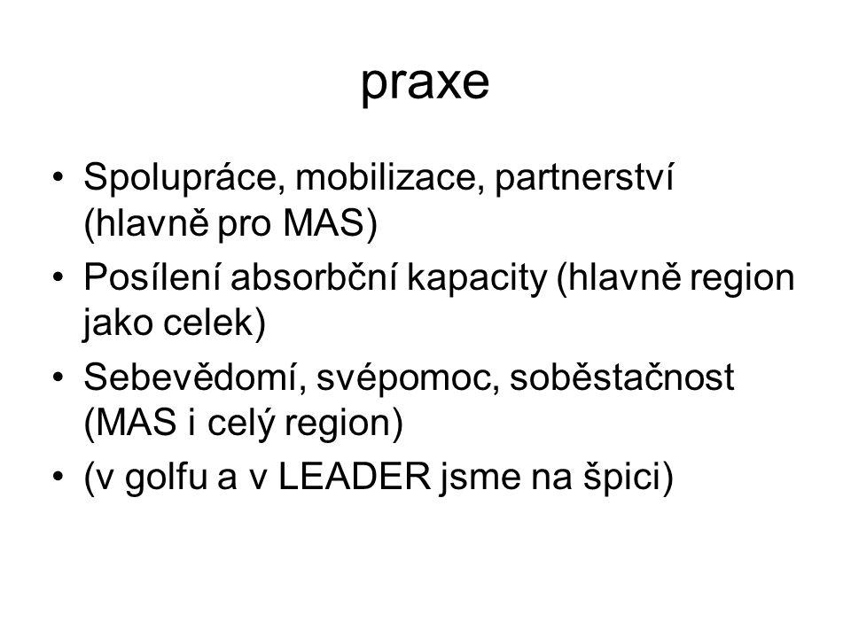 praxe Spolupráce, mobilizace, partnerství (hlavně pro MAS) Posílení absorbční kapacity (hlavně region jako celek) Sebevědomí, svépomoc, soběstačnost (MAS i celý region) (v golfu a v LEADER jsme na špici)