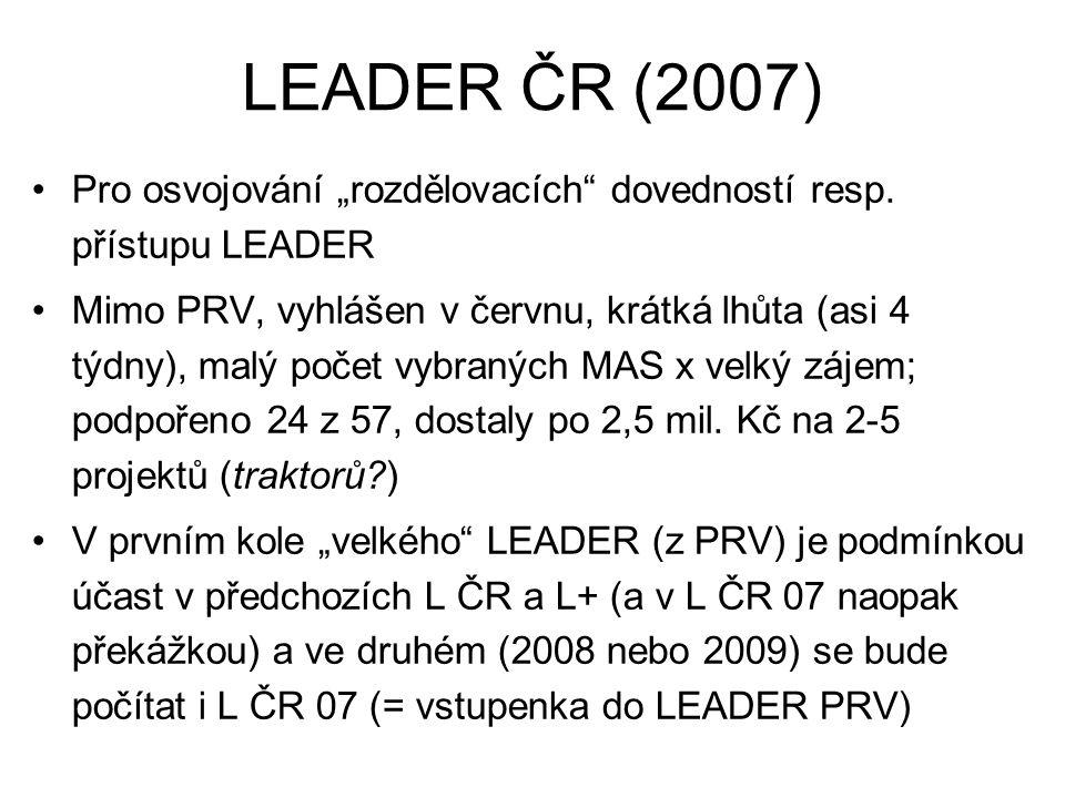 """LEADER ČR (2007) Pro osvojování """"rozdělovacích"""" dovedností resp. přístupu LEADER Mimo PRV, vyhlášen v červnu, krátká lhůta (asi 4 týdny), malý počet v"""