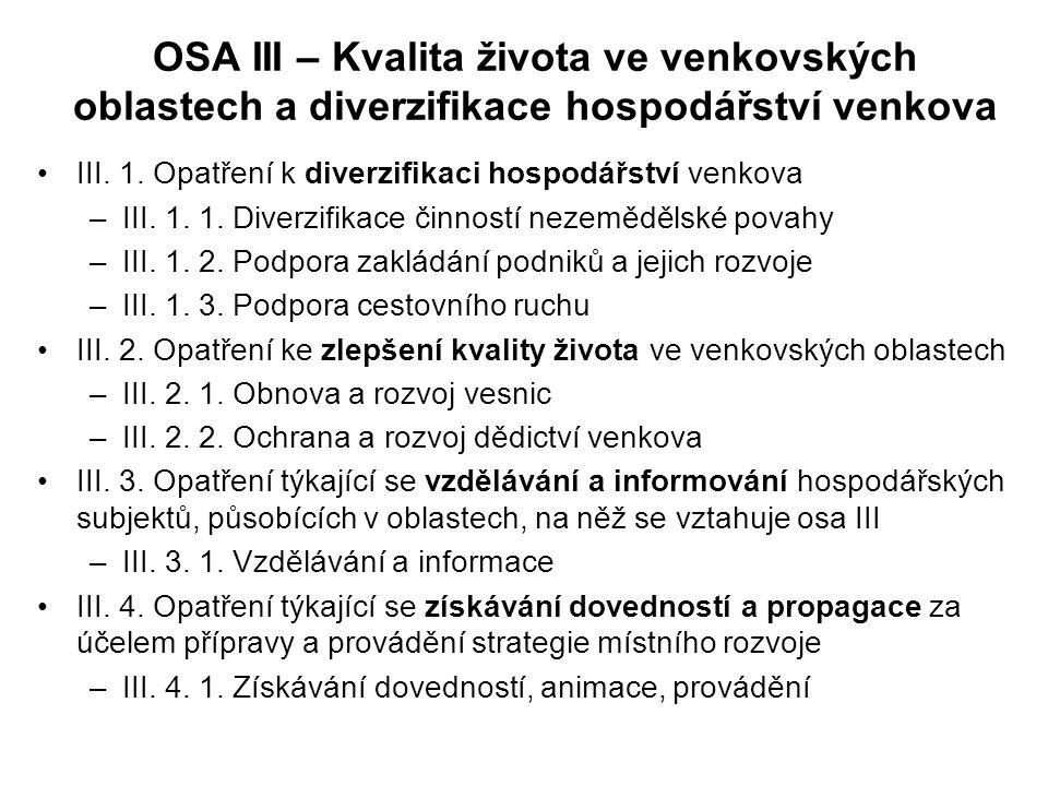 OSA III – Kvalita života ve venkovských oblastech a diverzifikace hospodářství venkova III. 1. Opatření k diverzifikaci hospodářství venkova –III. 1.