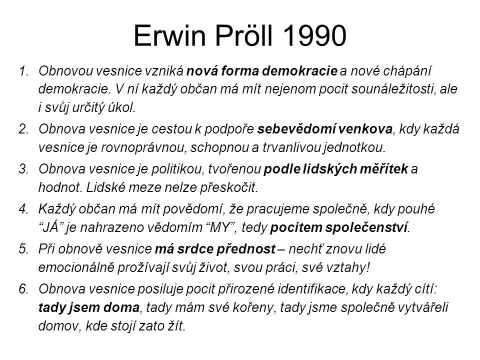 Erwin Pröll 1990 1.Obnovou vesnice vzniká nová forma demokracie a nové chápání demokracie. V ní každý občan má mít nejenom pocit sounáležitosti, ale i