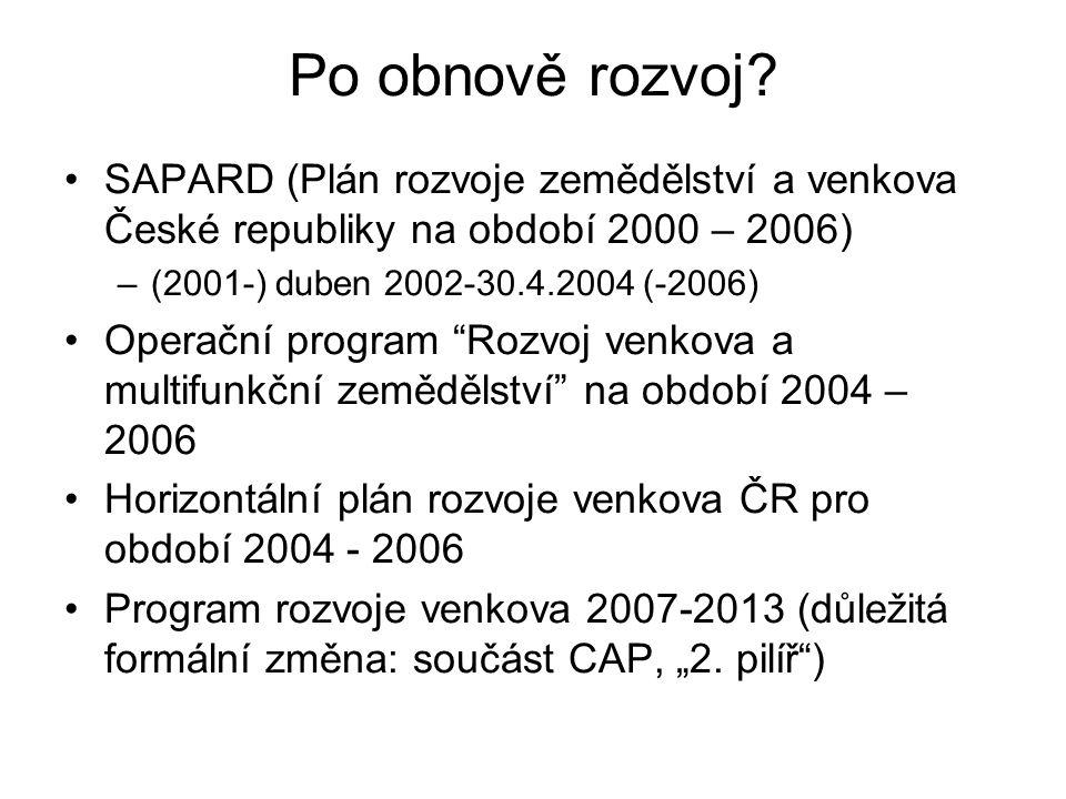 Po obnově rozvoj? SAPARD (Plán rozvoje zemědělství a venkova České republiky na období 2000 – 2006) –(2001-) duben 2002-30.4.2004 (-2006) Operační pro