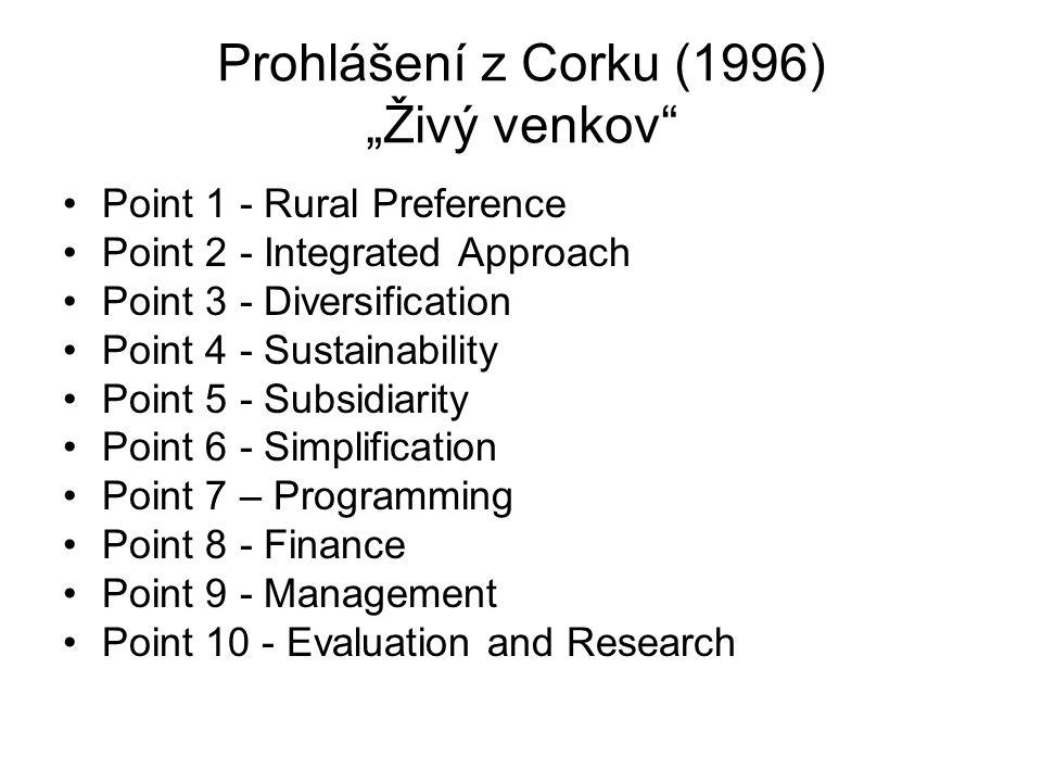 """Prohlášení z Corku (1996) """"Živý venkov"""" Point 1 - Rural Preference Point 2 - Integrated Approach Point 3 - Diversification Point 4 - Sustainability Po"""