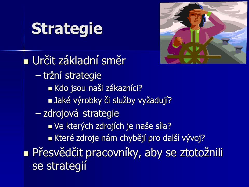 Strategie Vlastnická strategie Vlastnická strategie –Cíle finanční – hodnota firmy –Cíle marketingové a obchodní – podíl na trhu Manažerská strategie Manažerská strategie –Vychází ze strategie vlastnické –Obchodní, marketingová, finanční, výrobní, personální