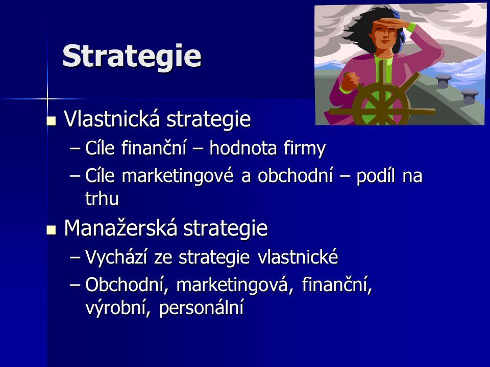 Strategie Vlastnická strategie Vlastnická strategie –Cíle finanční – hodnota firmy –Cíle marketingové a obchodní – podíl na trhu Manažerská strategie