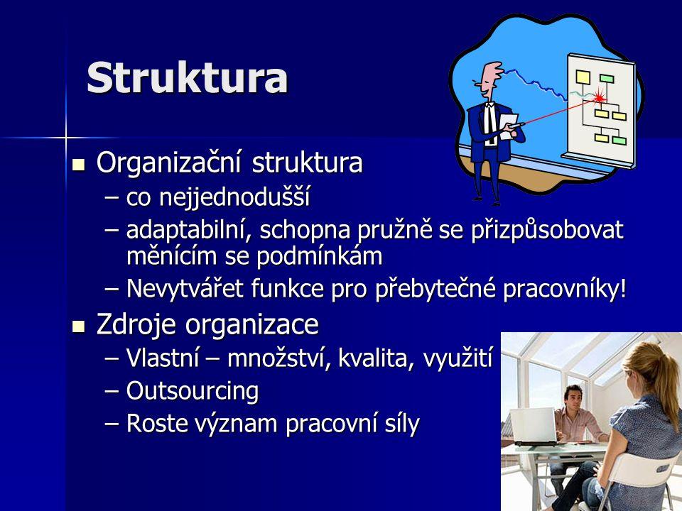 Struktura Organizační struktura Organizační struktura –co nejjednodušší –adaptabilní, schopna pružně se přizpůsobovat měnícím se podmínkám –Nevytvářet