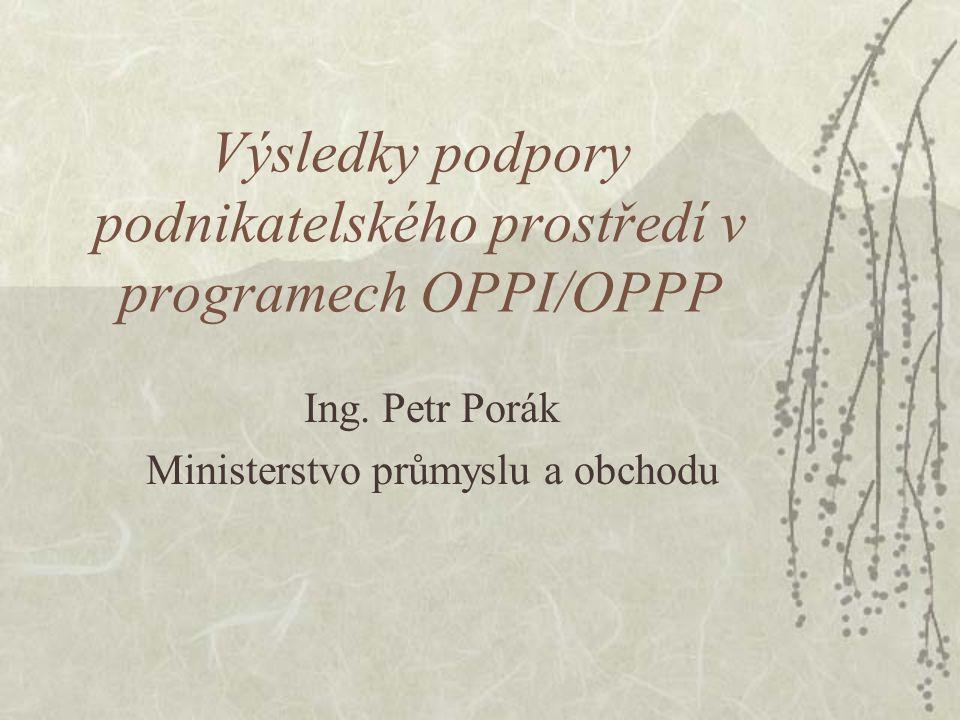 Výsledky podpory podnikatelského prostředí v programech OPPI/OPPP Ing.