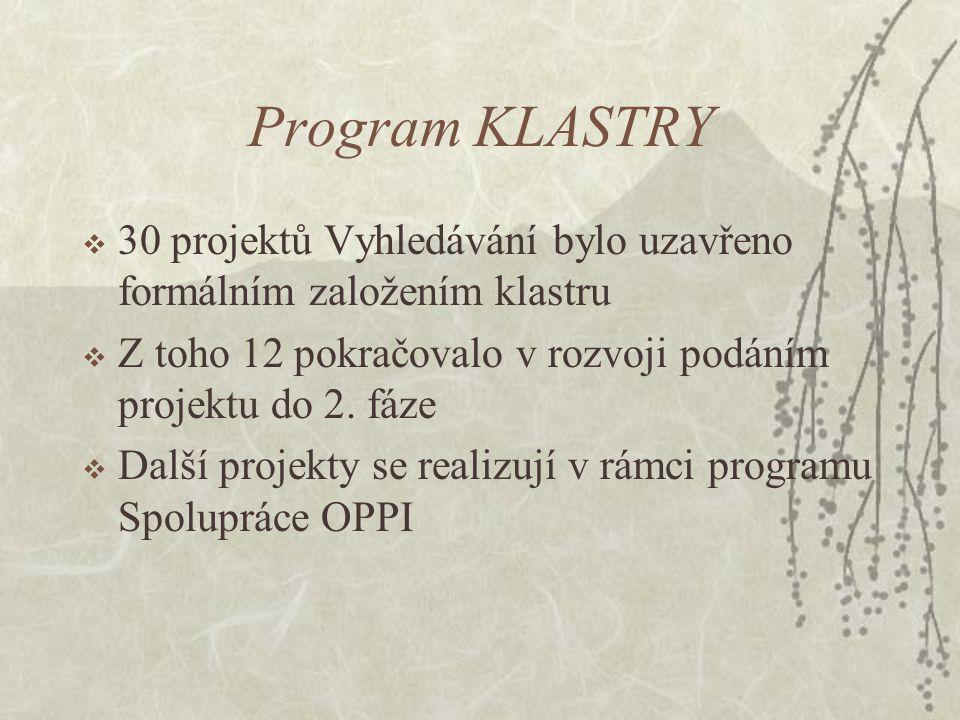 Program KLASTRY  30 projektů Vyhledávání bylo uzavřeno formálním založením klastru  Z toho 12 pokračovalo v rozvoji podáním projektu do 2.