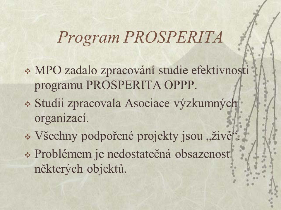 Program PROSPERITA  MPO zadalo zpracování studie efektivnosti programu PROSPERITA OPPP.