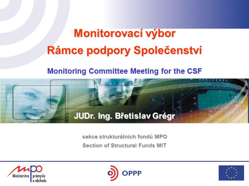 Monitorovací výbor Rámce podpory Společenství Monitoring Committee Meeting for the CSF hotel Yasmin 17. 5. 2006 JUDr. Ing. Břetislav Grégr sekce struk