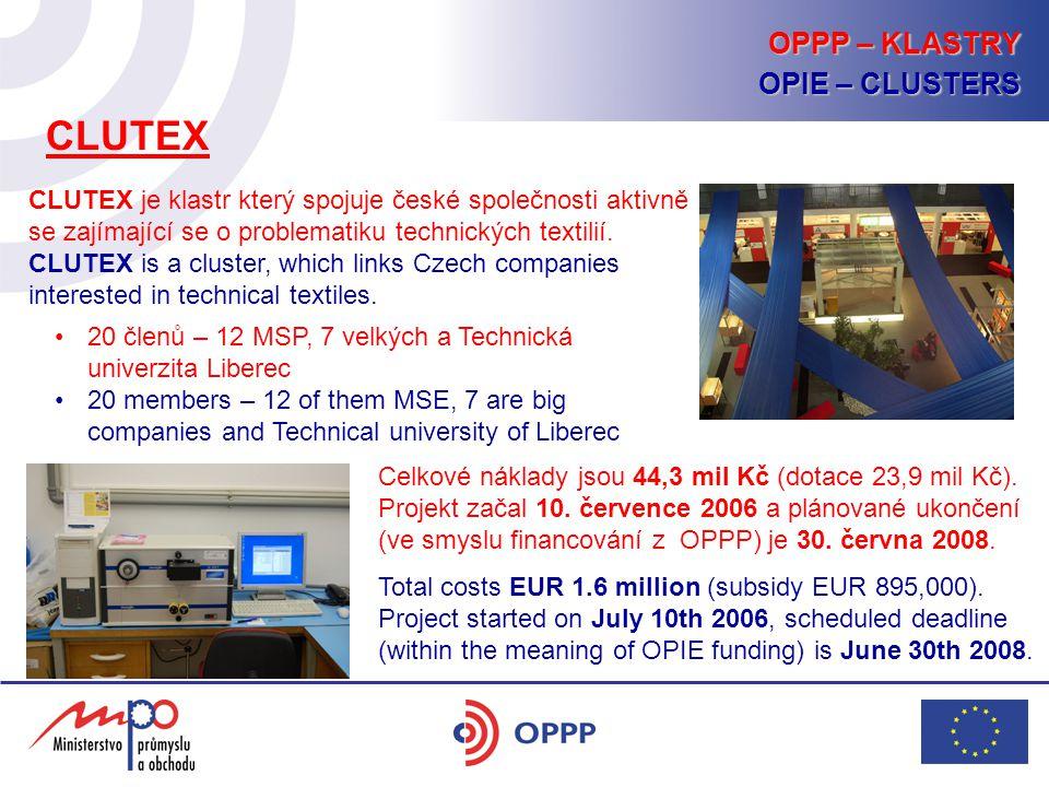 CLUTEX je klastr který spojuje české společnosti aktivně se zajímající se o problematiku technických textilií. CLUTEX is a cluster, which links Czech