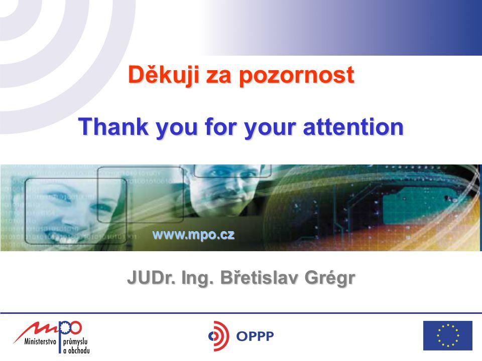 Děkuji za pozornost Thank you for your attention www.mpo.cz JUDr. Ing. Břetislav Grégr