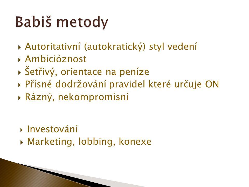  Autoritativní (autokratický) styl vedení  Ambicióznost  Šetřivý, orientace na peníze  Přísné dodržování pravidel které určuje ON  Rázný, nekompromisní  Investování  Marketing, lobbing, konexe