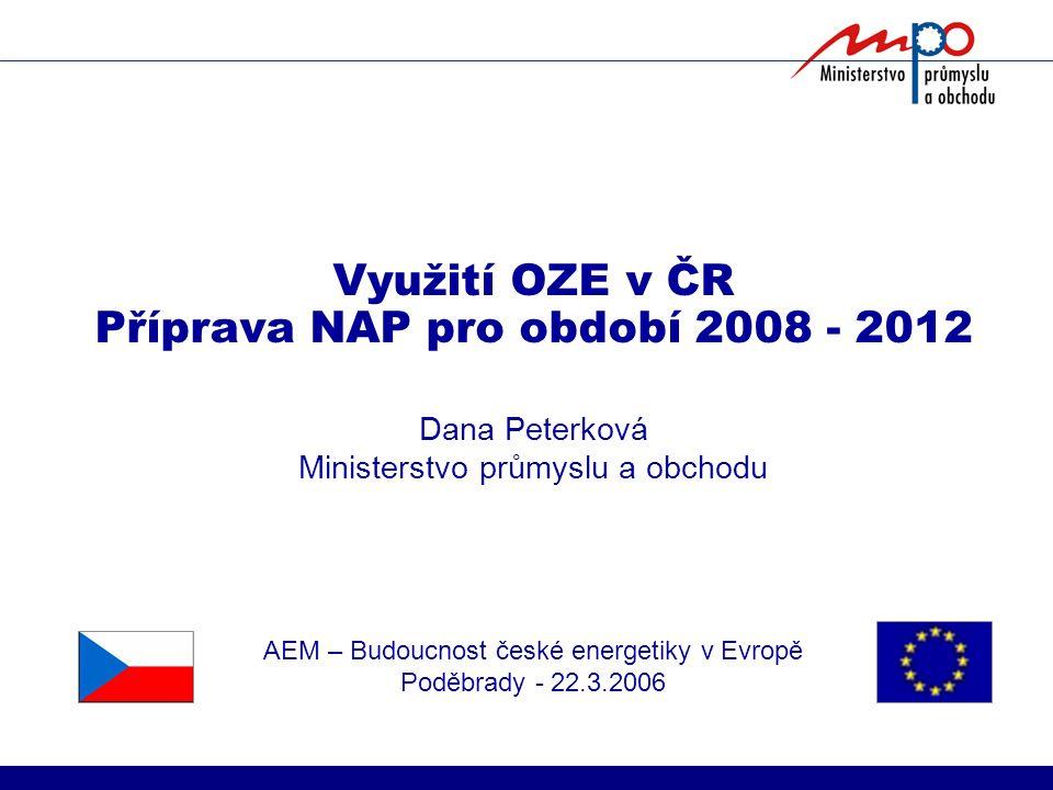 Využití OZE v ČR Příprava NAP pro období 2008 - 2012 Dana Peterková Ministerstvo průmyslu a obchodu AEM – Budoucnost české energetiky v Evropě Poděbrady - 22.3.2006