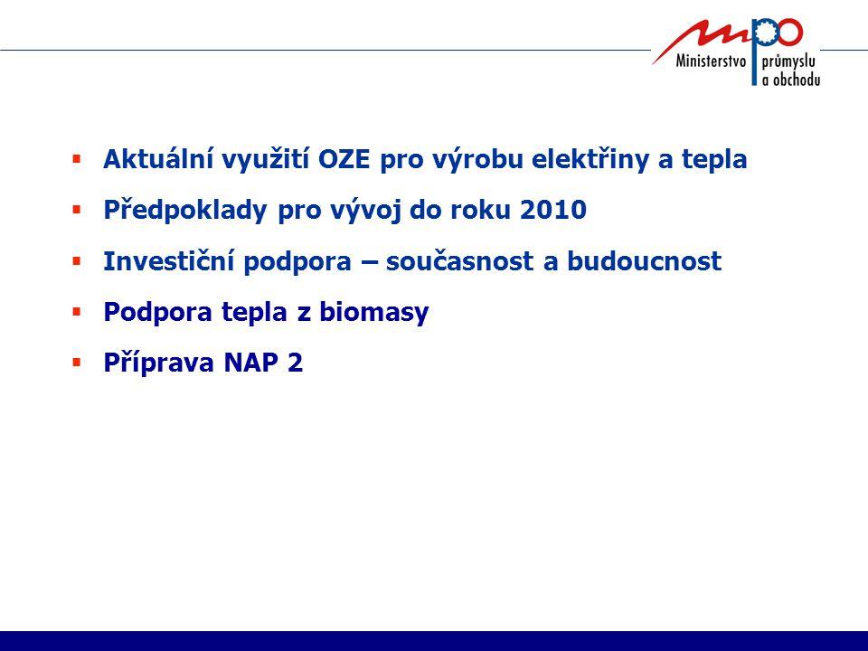 Aktuální využití OZE pro výrobu elektřiny a tepla  Předpoklady pro vývoj do roku 2010  Investiční podpora – současnost a budoucnost  Podpora tepla z biomasy  Příprava NAP 2