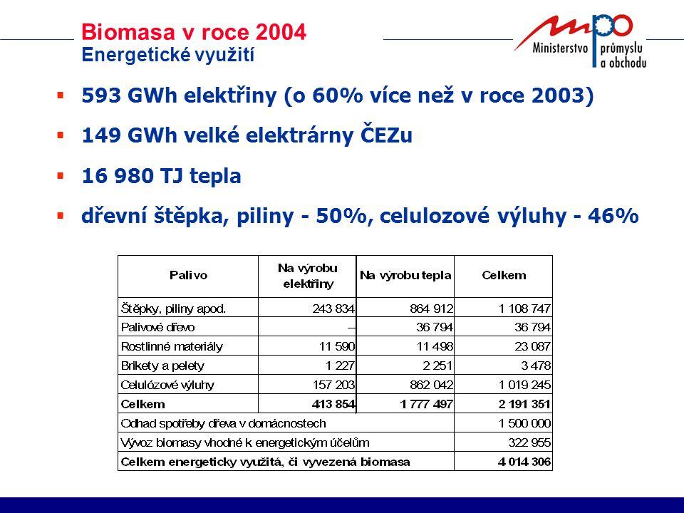 Biomasa v roce 2004 Energetické využití  593 GWh elektřiny (o 60% více než v roce 2003)  149 GWh velké elektrárny ČEZu  16 980 TJ tepla  dřevní štěpka, piliny - 50%, celulozové výluhy - 46%
