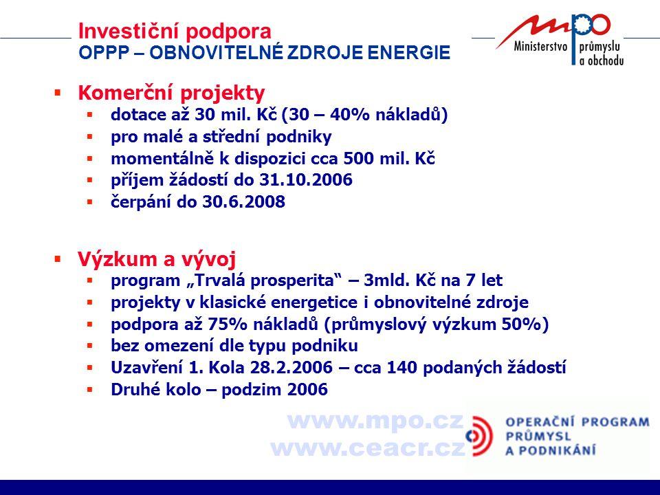 Investiční podpora OPPP – OBNOVITELNÉ ZDROJE ENERGIE  Komerční projekty  dotace až 30 mil.