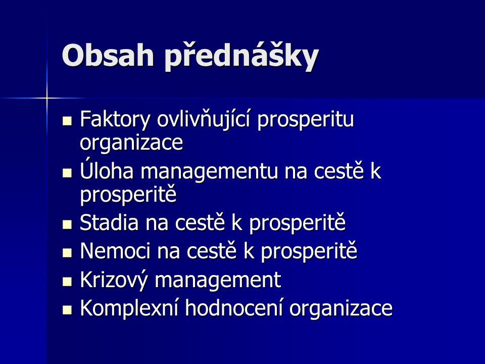 Prosperita Situace Situace ve vývoji organizace, která zabezpečuje zdárné, úplné a dlouhodobé plnění její funkce