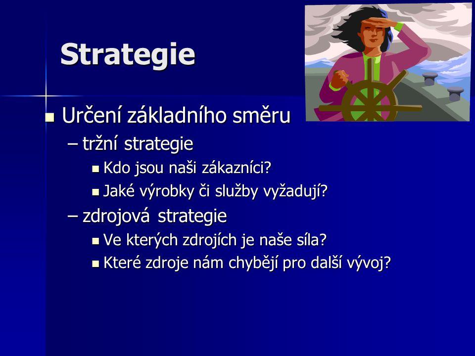 Struktura Organizační struktura Organizační struktura –musí být co nejjednodušší –musí být adaptabilní, schopna pružně se přizpůsobovat měnícím se podmínkám Zdroje organizace Zdroje organizace –množství zdrojů –kvalita zdrojů –využití zdrojů