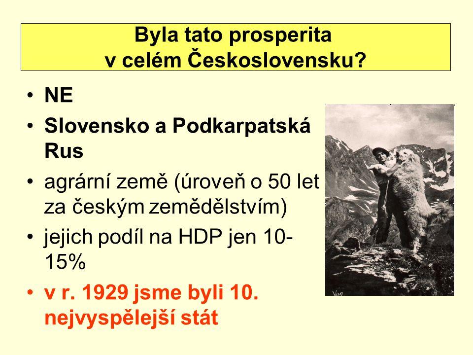 NE Slovensko a Podkarpatská Rus agrární země (úroveň o 50 let za českým zemědělstvím) jejich podíl na HDP jen 10- 15% v r. 1929 jsme byli 10. nejvyspě
